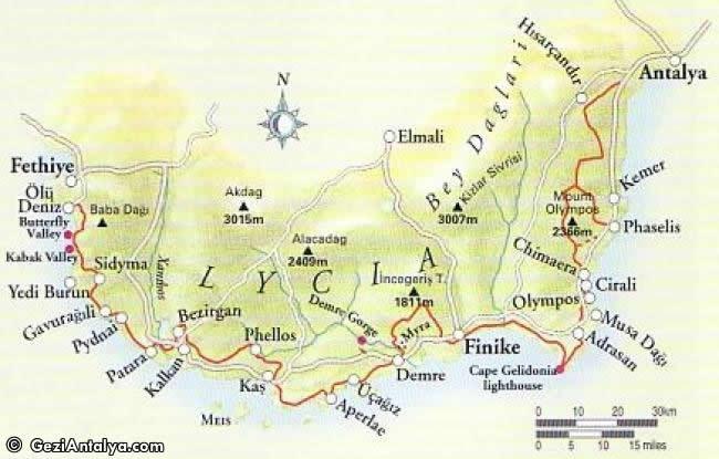 likya antik yol harita ile ilgili görsel sonucu